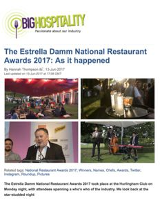 National Restaurant Awards 2017 Big Hospitality Article